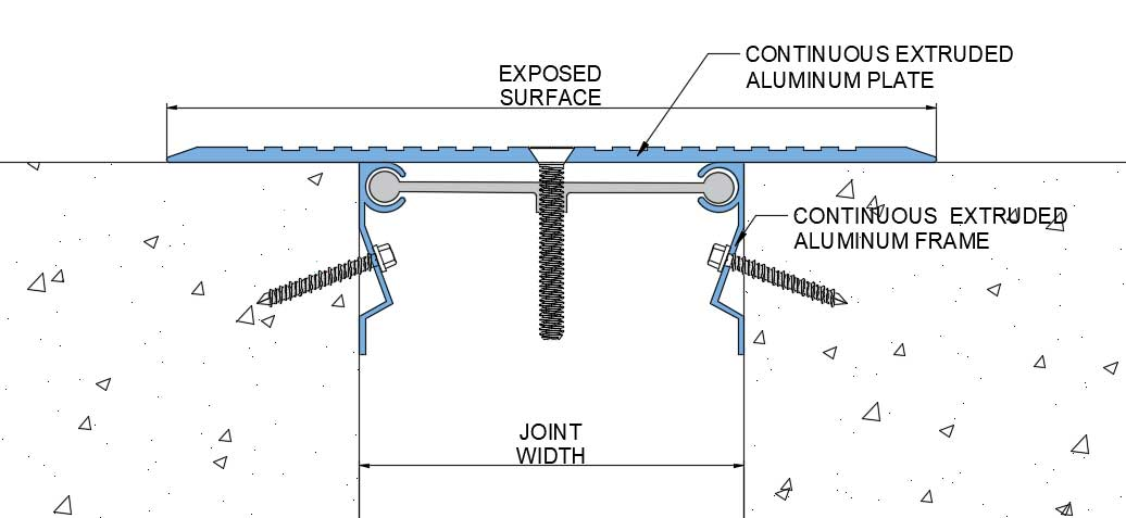 drawing details of Surface Mounted Aluminum Floor Expansion Joint Cover Plate FOM 1